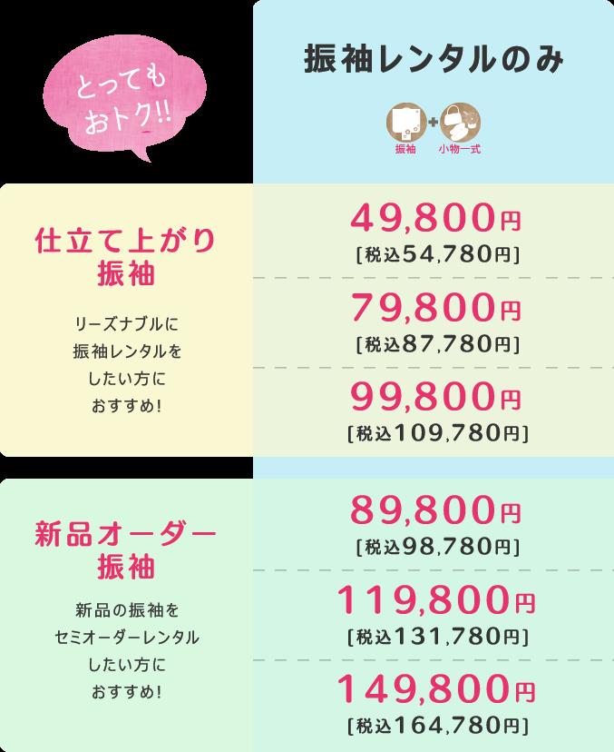 振袖レンタルのみ49,800円[税込53,784円]から!!